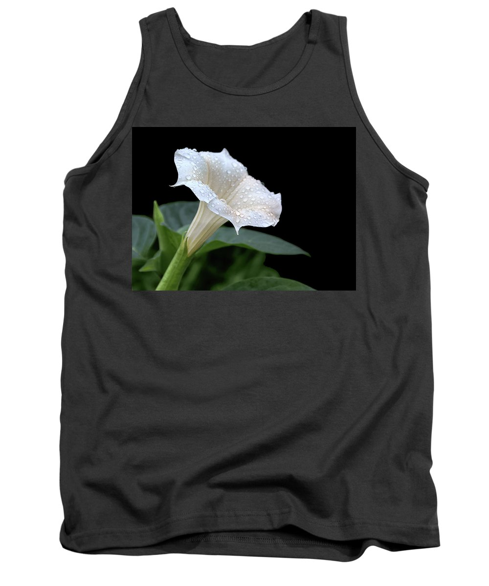 Flowers Tank Top featuring the photograph Moonflower - Rain Drops by Nikolyn McDonald