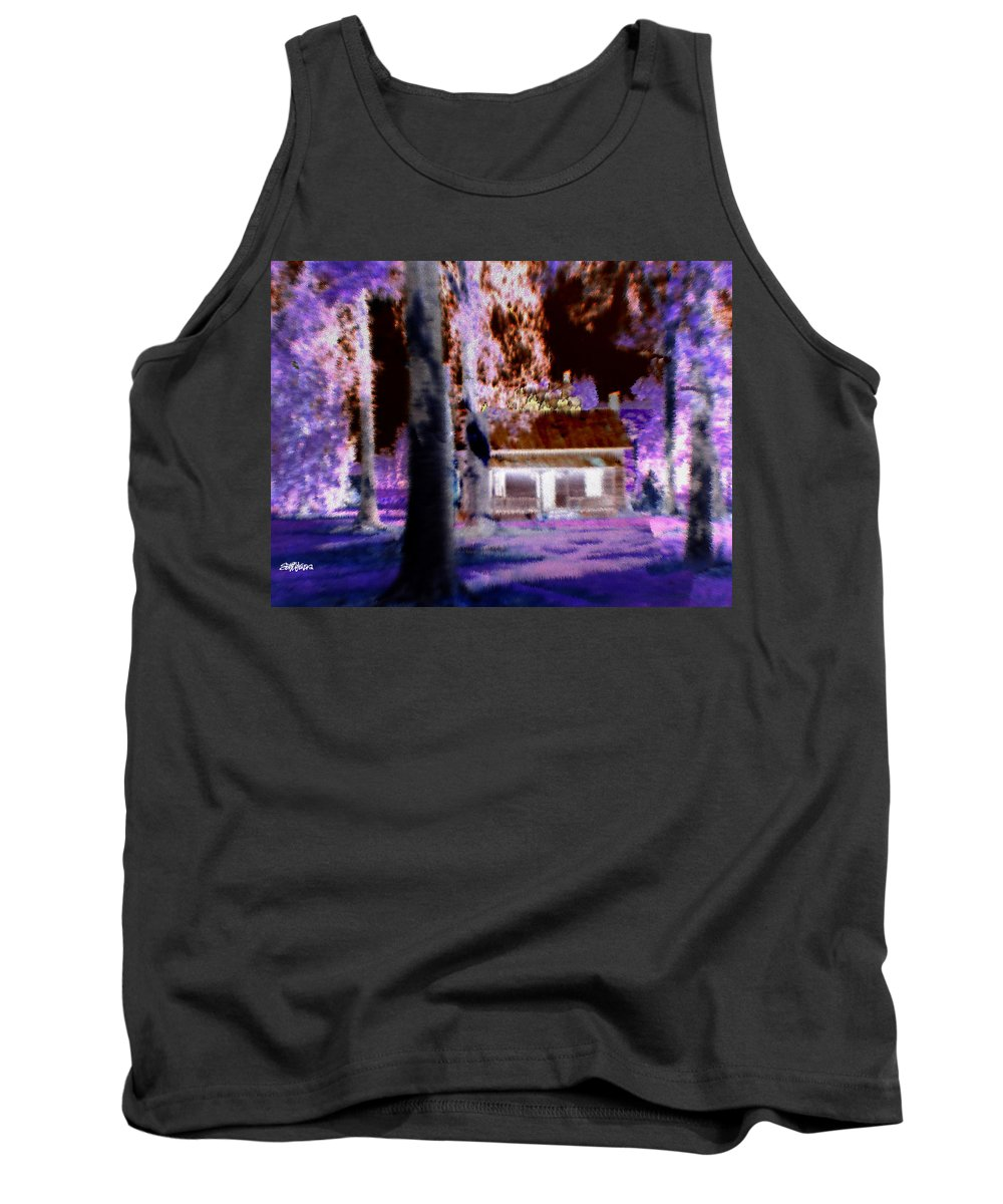 Cabin Tank Top featuring the digital art Moonlight Cabin by Seth Weaver