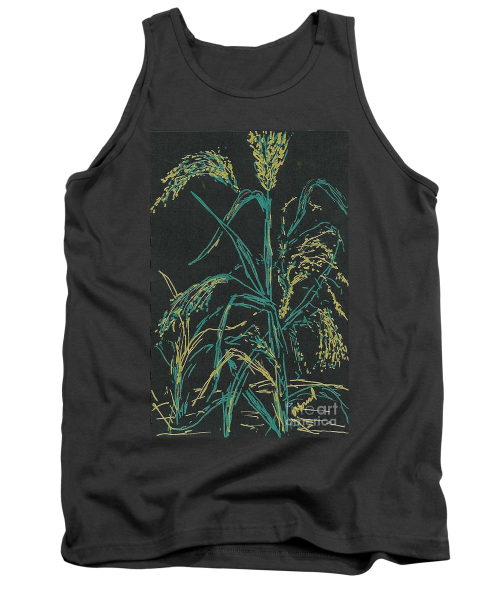 Wheat Tank Top featuring the mixed media Moonlight Wheat by Vicki Housel