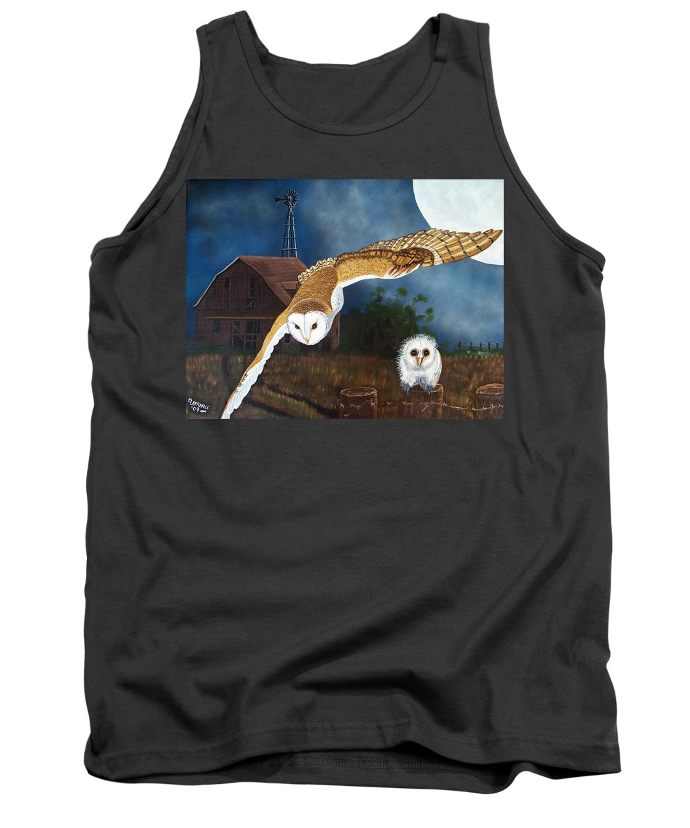 Owl Tank Top featuring the painting Moonlit Flight by Debbie LaFrance