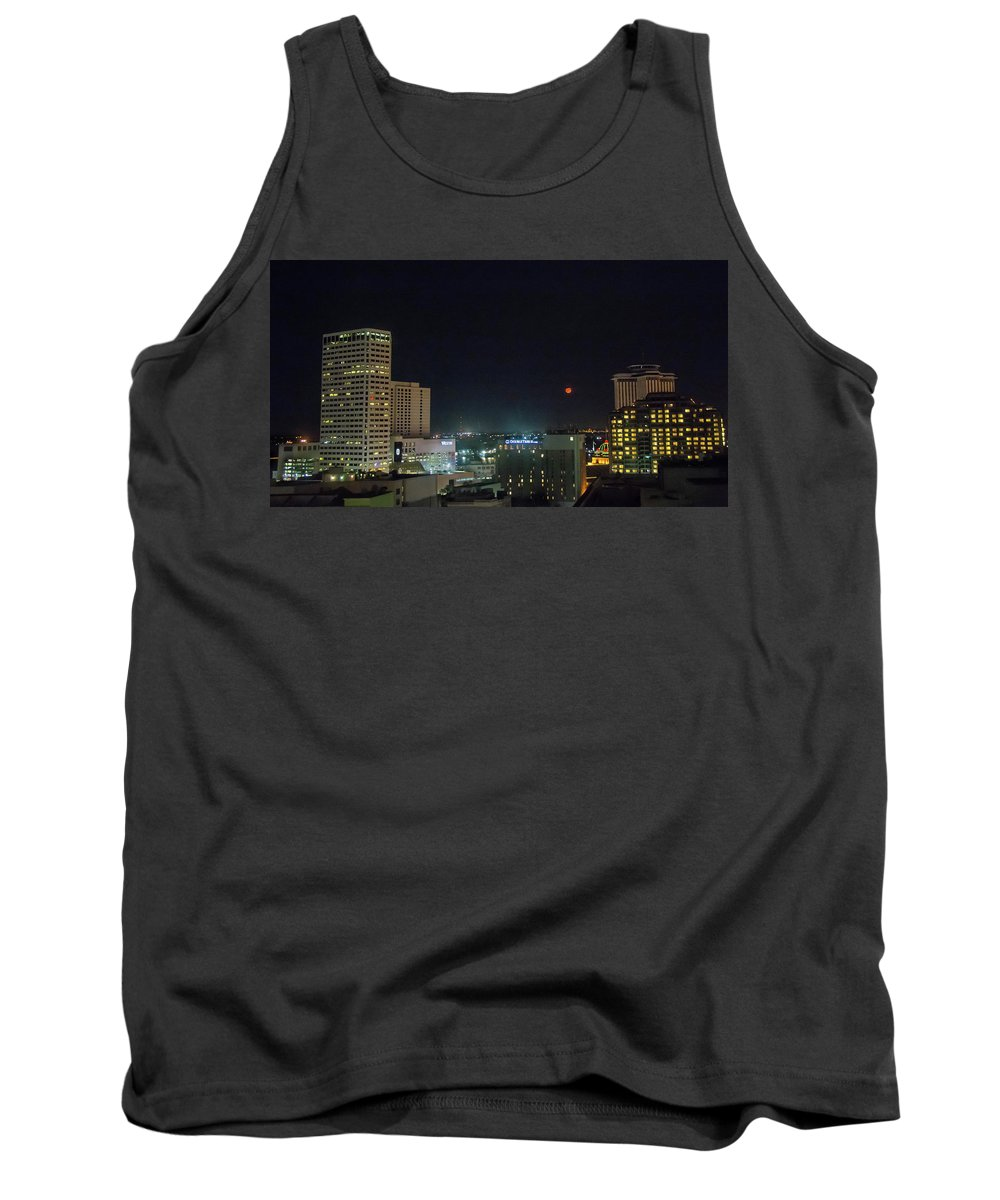 New Orleans Tank Top featuring the photograph Moonrise Over New Orleans by Linda Eszenyi