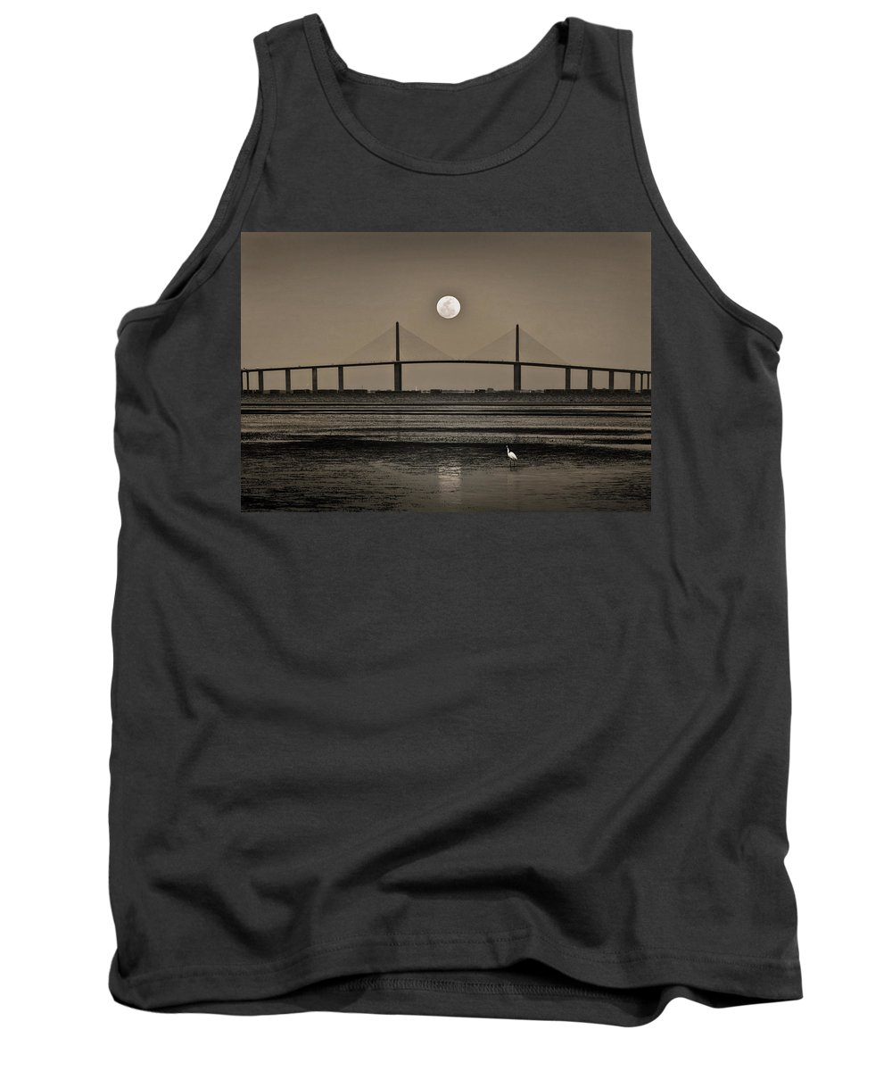 Moon Tank Top featuring the photograph Moonrise Over Skyway Bridge by Steven Sparks