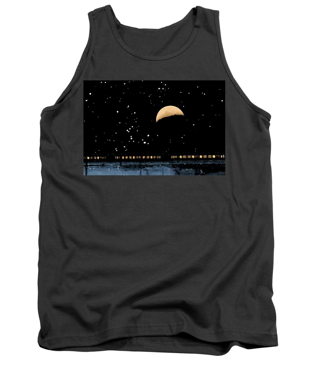 Brad Brailsford Tank Top featuring the photograph Moonset Over Depot by Brad Brailsford