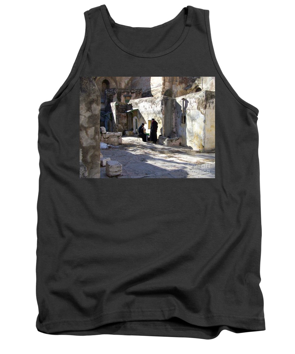 Jerusalem Tank Top featuring the photograph Morning Conversation by Kathy McClure