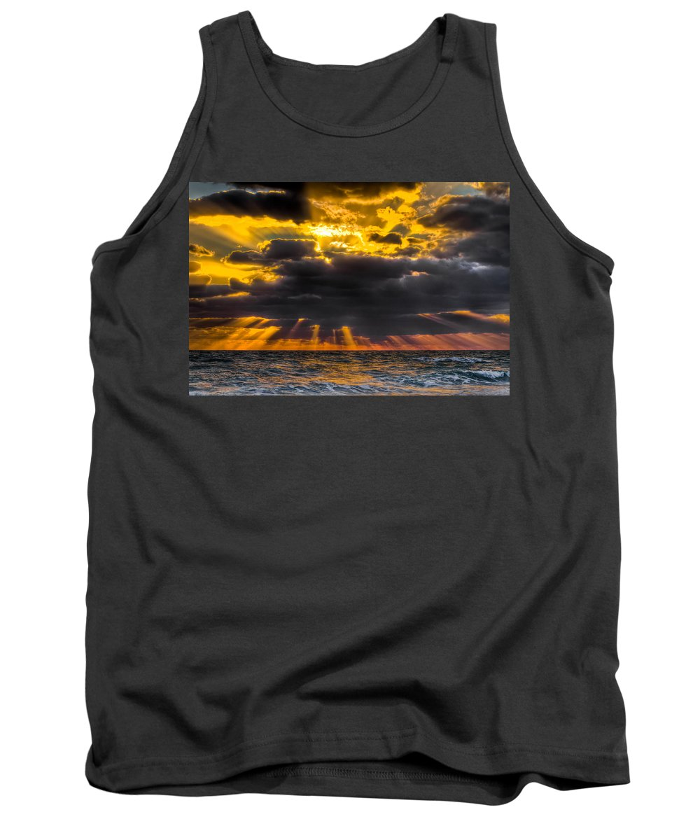 Coral Cove Tank Top featuring the photograph Morning Drama by Debra and Dave Vanderlaan