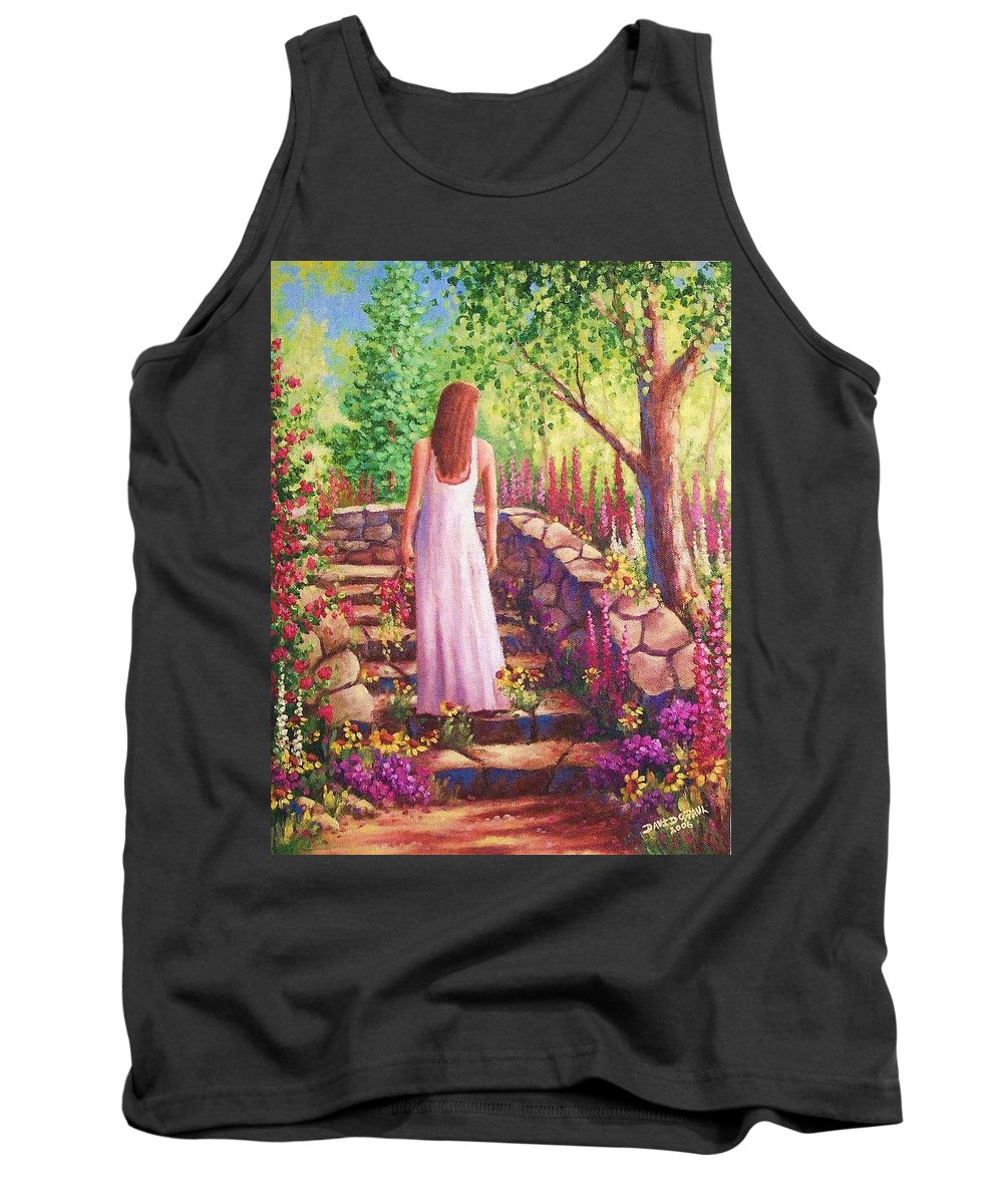 Woman Tank Top featuring the painting Morning In Her Garden by David G Paul