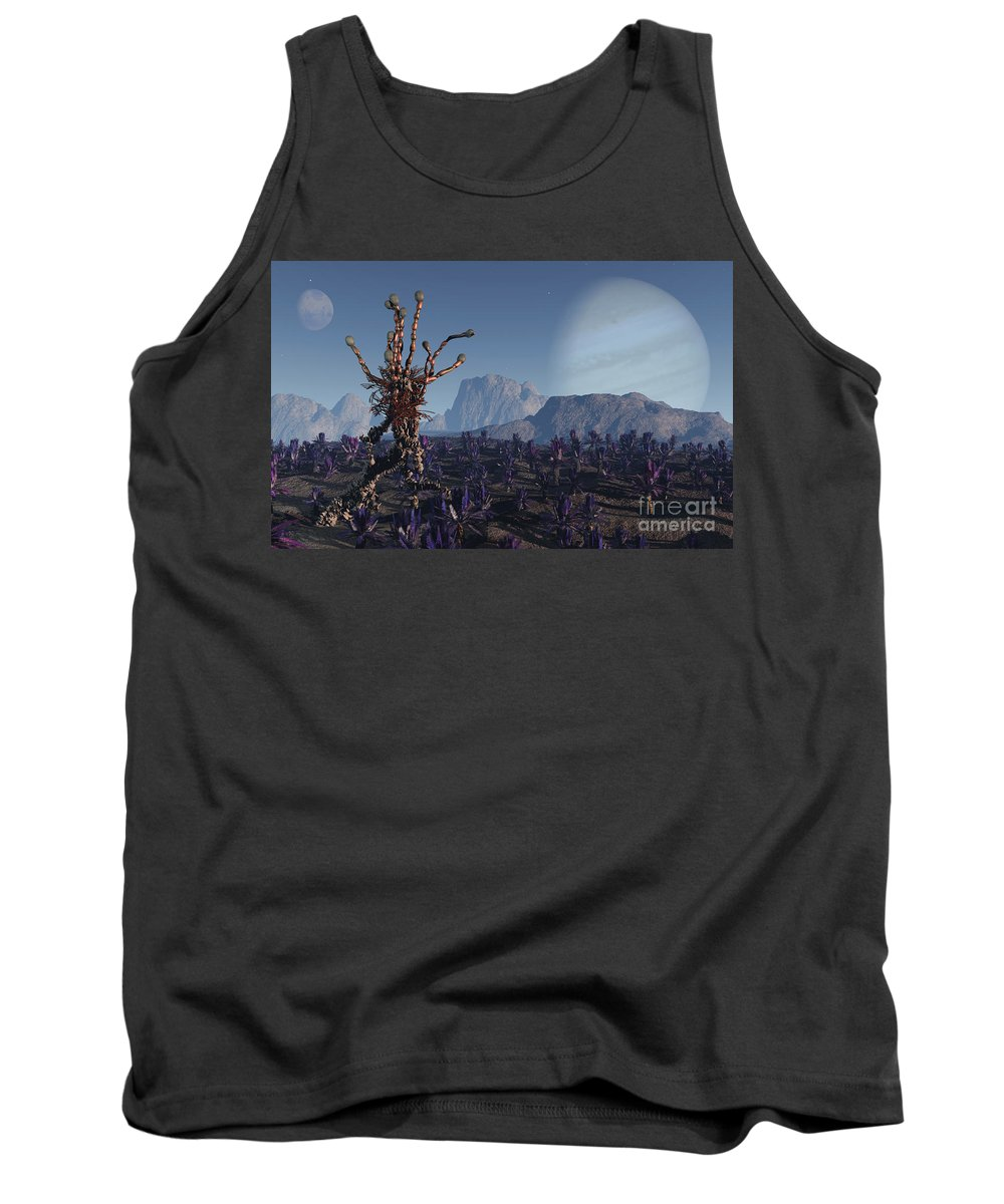Alien Tank Top featuring the digital art Morning Stroll by Richard Rizzo