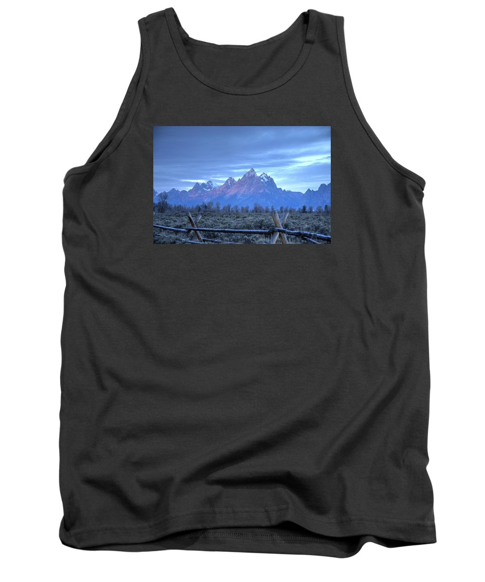 Tetons Tank Top featuring the photograph Morning Sunrise In The Tetons by Dennis Blum