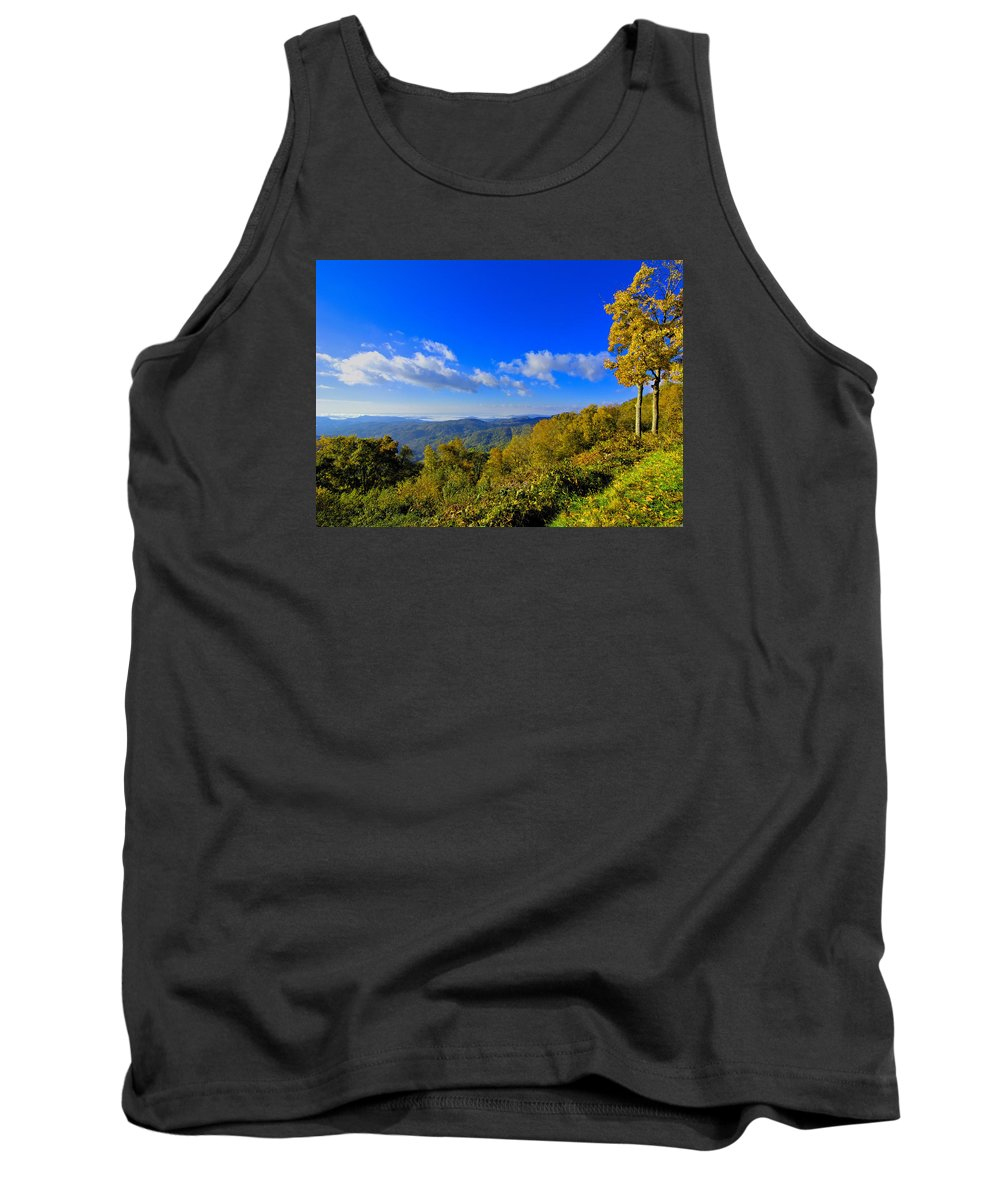 Mountains Tank Top featuring the photograph Early Fall Morning View by Larry Jones