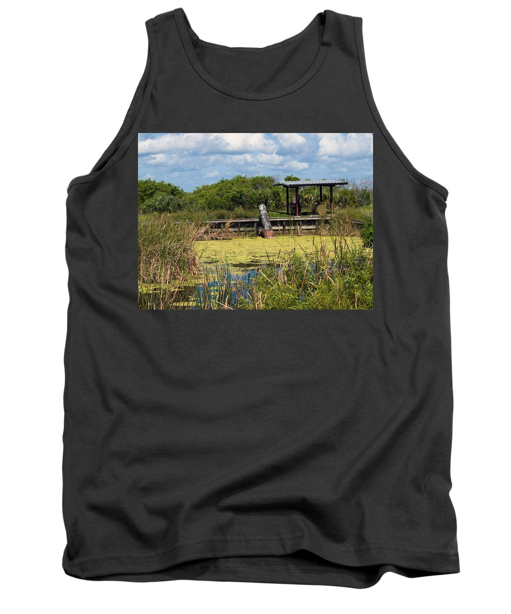 Florida; Mosquito; Coast; Flood; Flooding; Water; Salt; Marsh; Impoundment; Impound; Contain; Pond; Tank Top featuring the photograph Mosquito Impoundement In Florida by Allan Hughes
