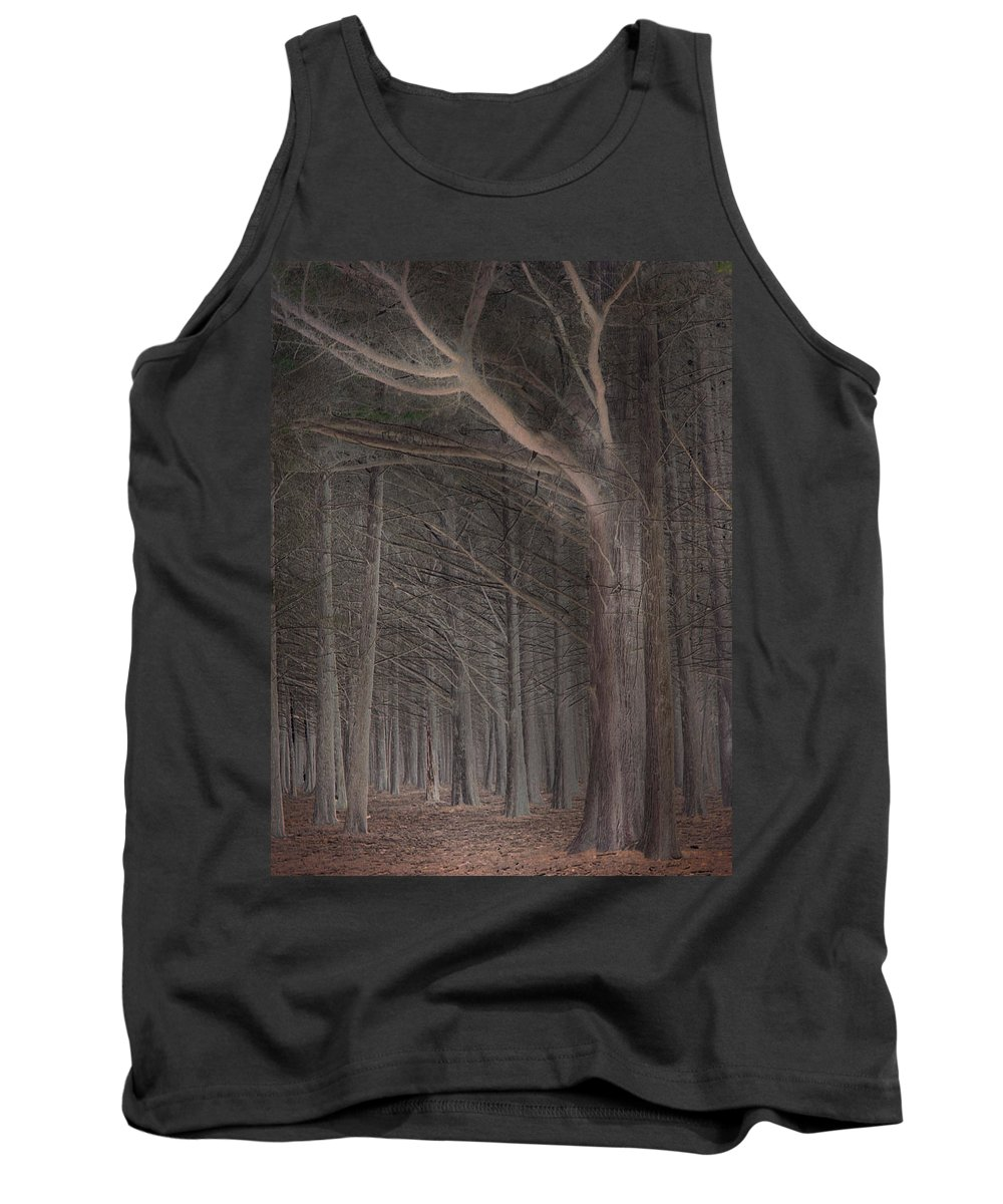 Landscapes Tank Top featuring the photograph Moss Beach Trees by Karen W Meyer