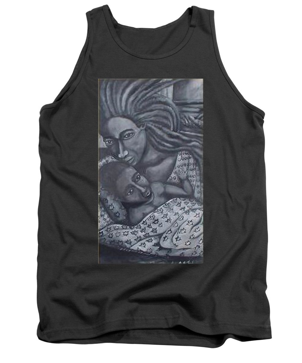 Mother Taking Care Of Child Tank Top featuring the painting Mother And Son by Andrew Johnson
