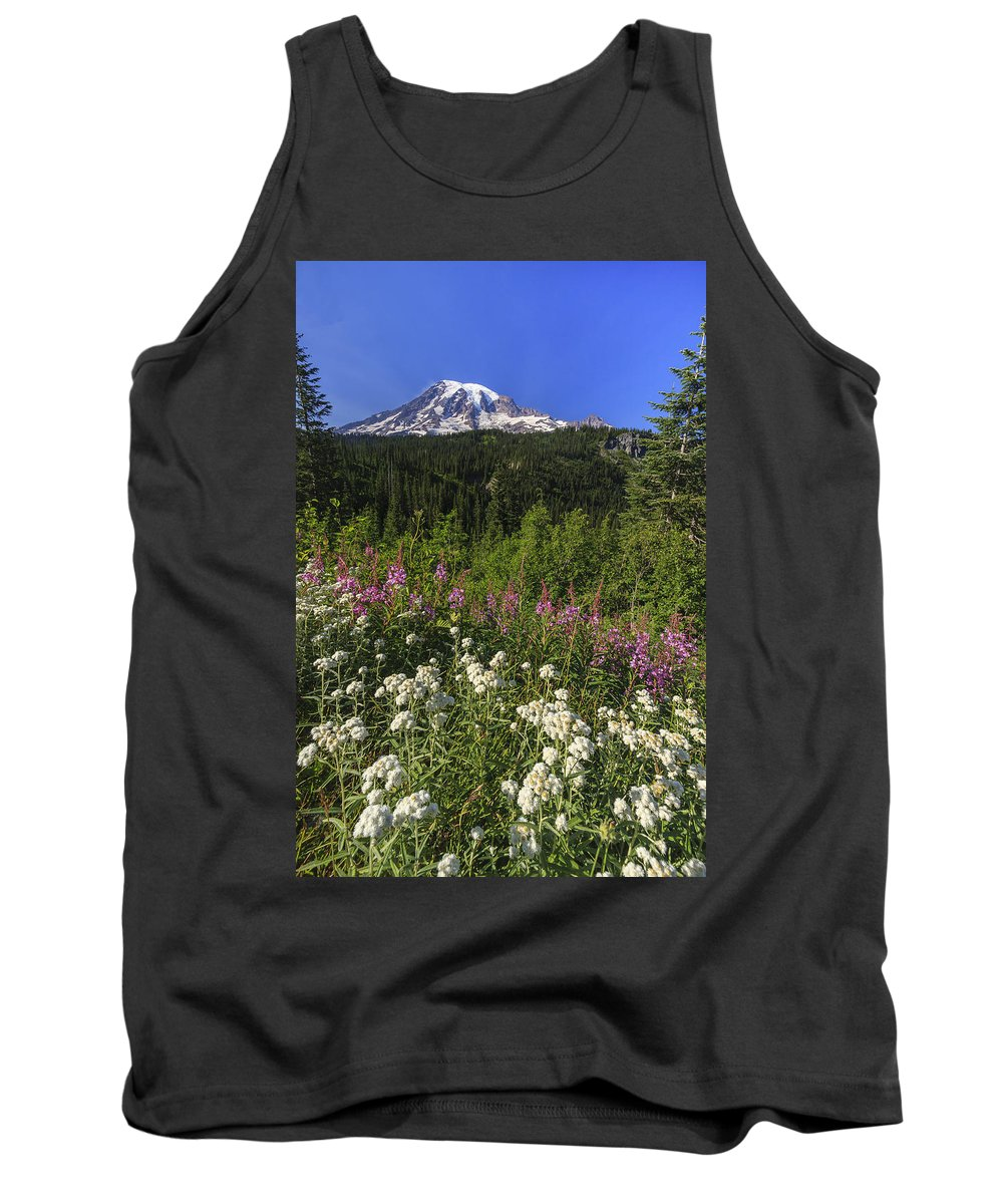 3scape Tank Top featuring the photograph Mount Rainier by Adam Romanowicz