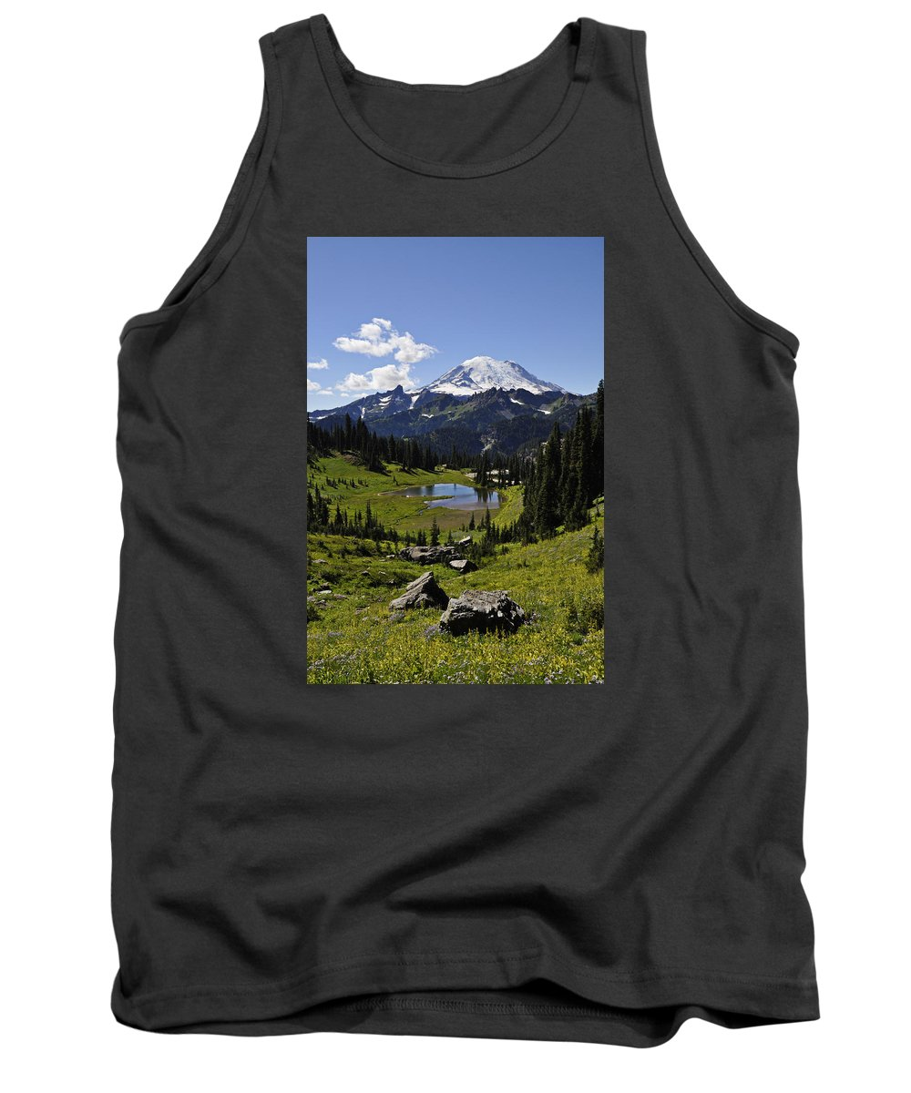 Mount Rainier Naches Peak Loop Washington State Hiking Mountain Nature Summer Tank Top featuring the photograph Mount Rainier by Pelo Blanco Photo
