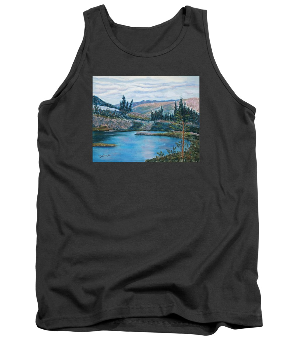 Mountain Tank Top featuring the painting Mountain Lake by Mary Benke