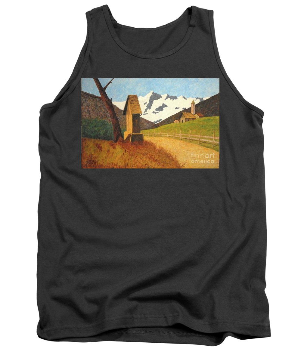 Colored-pencils Tank Top featuring the painting Mountain Landscape by Vincent Consiglio