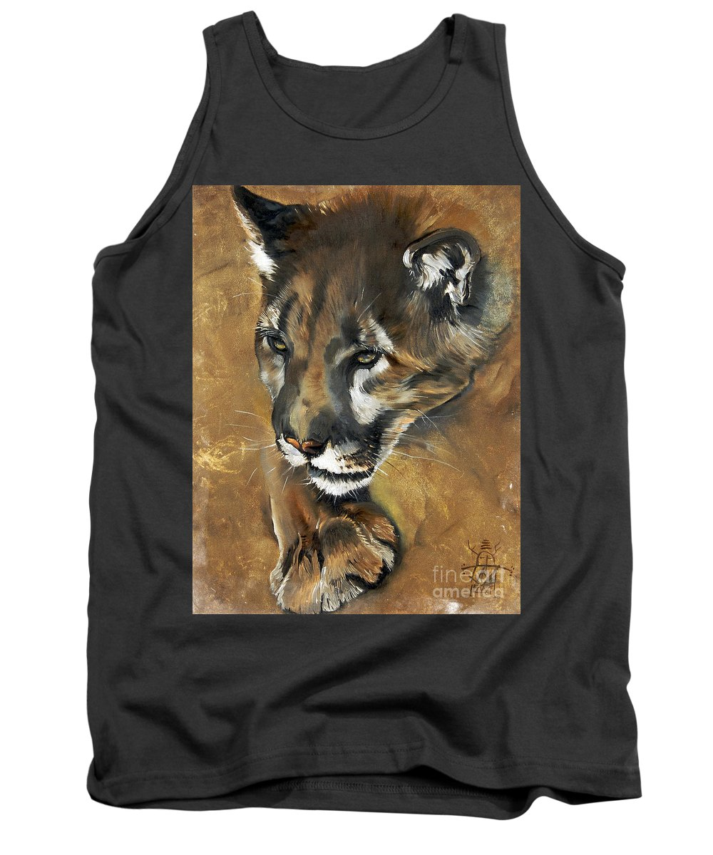 Southwest Art Tank Top featuring the painting Mountain Lion - Guardian of the North by J W Baker