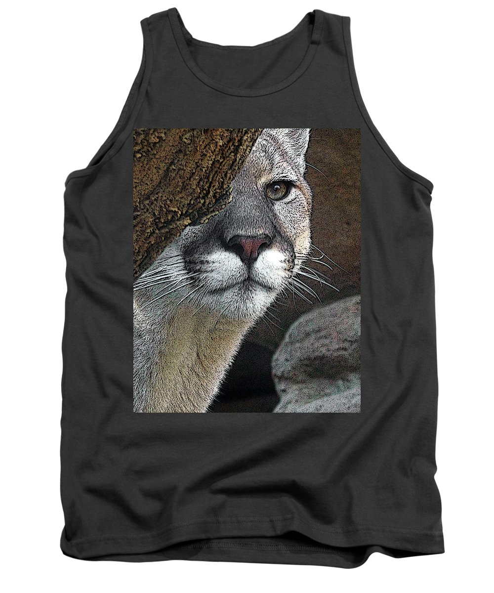 Big Cats Tank Top featuring the photograph Mountain Lion by Ernie Echols