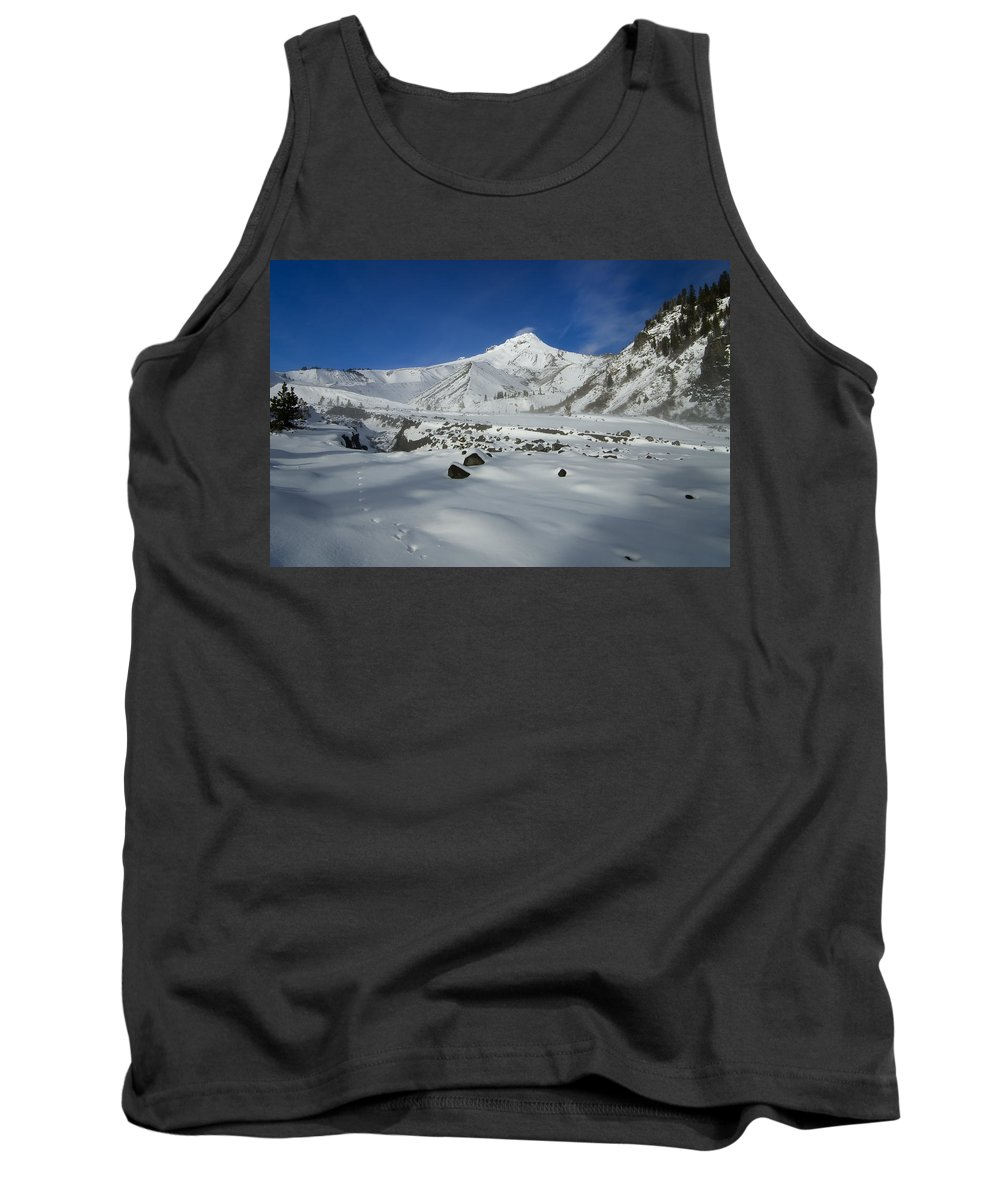 Mt. Hood Tank Top featuring the photograph Mountain Tracks by Mike Dawson