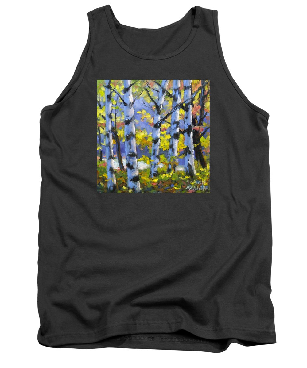 Art Tank Top featuring the painting Mountain View by Richard T Pranke