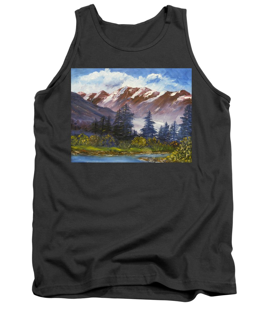 Oil Painting Tank Top featuring the painting Mountains I by Lessandra Grimley