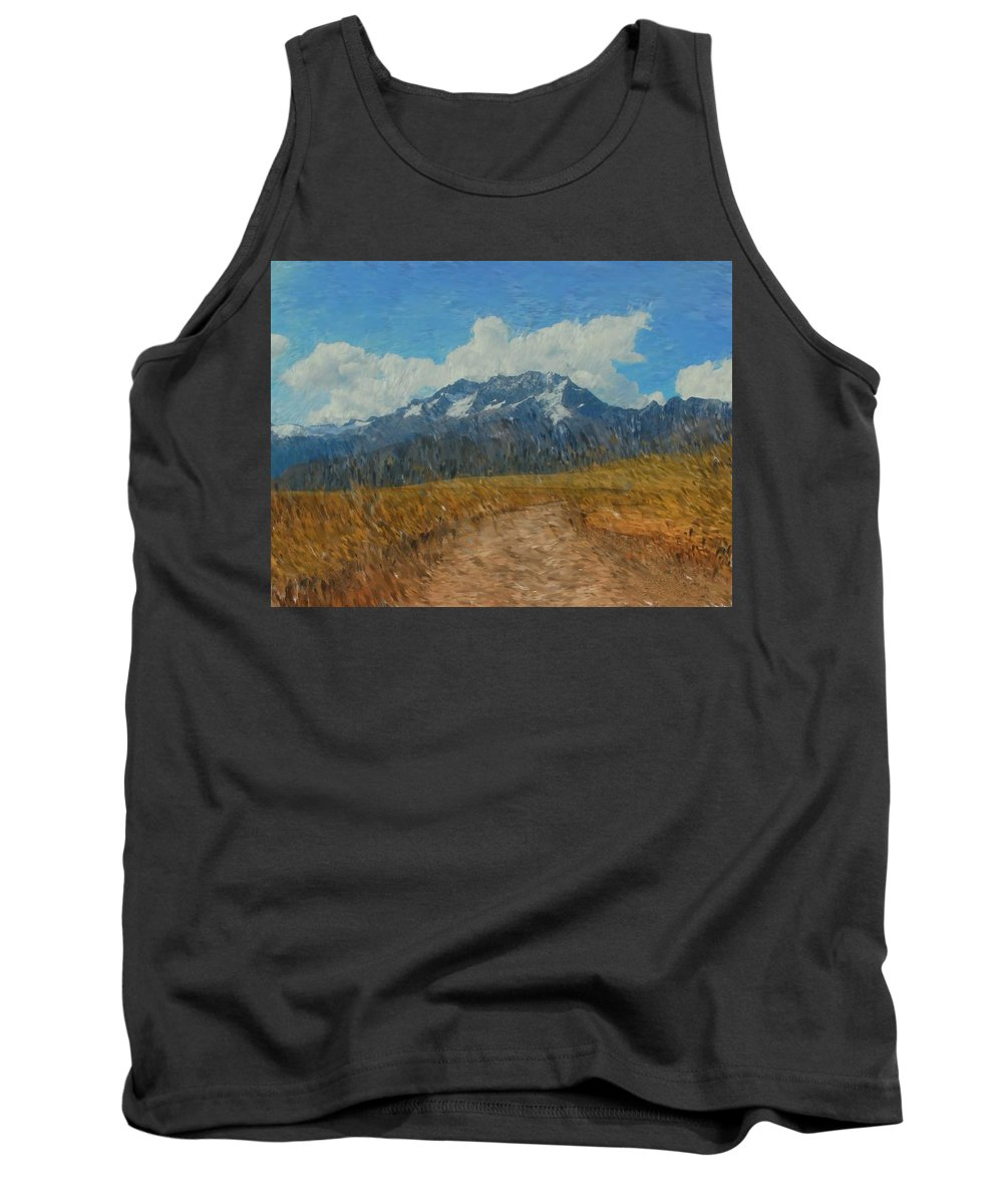 Abstract Digital Painting Tank Top featuring the photograph Mountains In Puru by David Lane