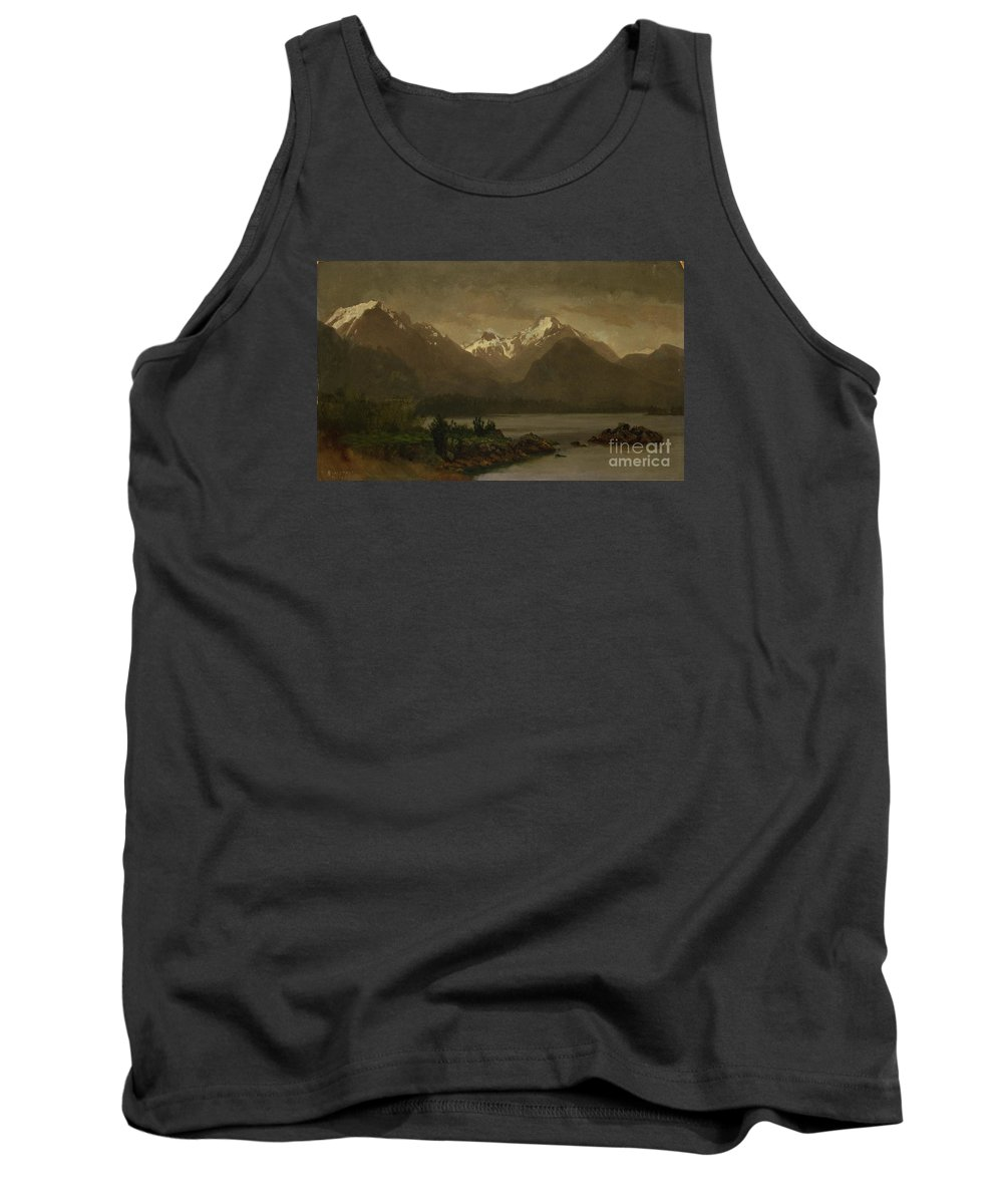 Albert_bierstadt_-_untitled_(mountains_and_lake) Tank Top featuring the painting Mountains_and_lake by Celestial Images