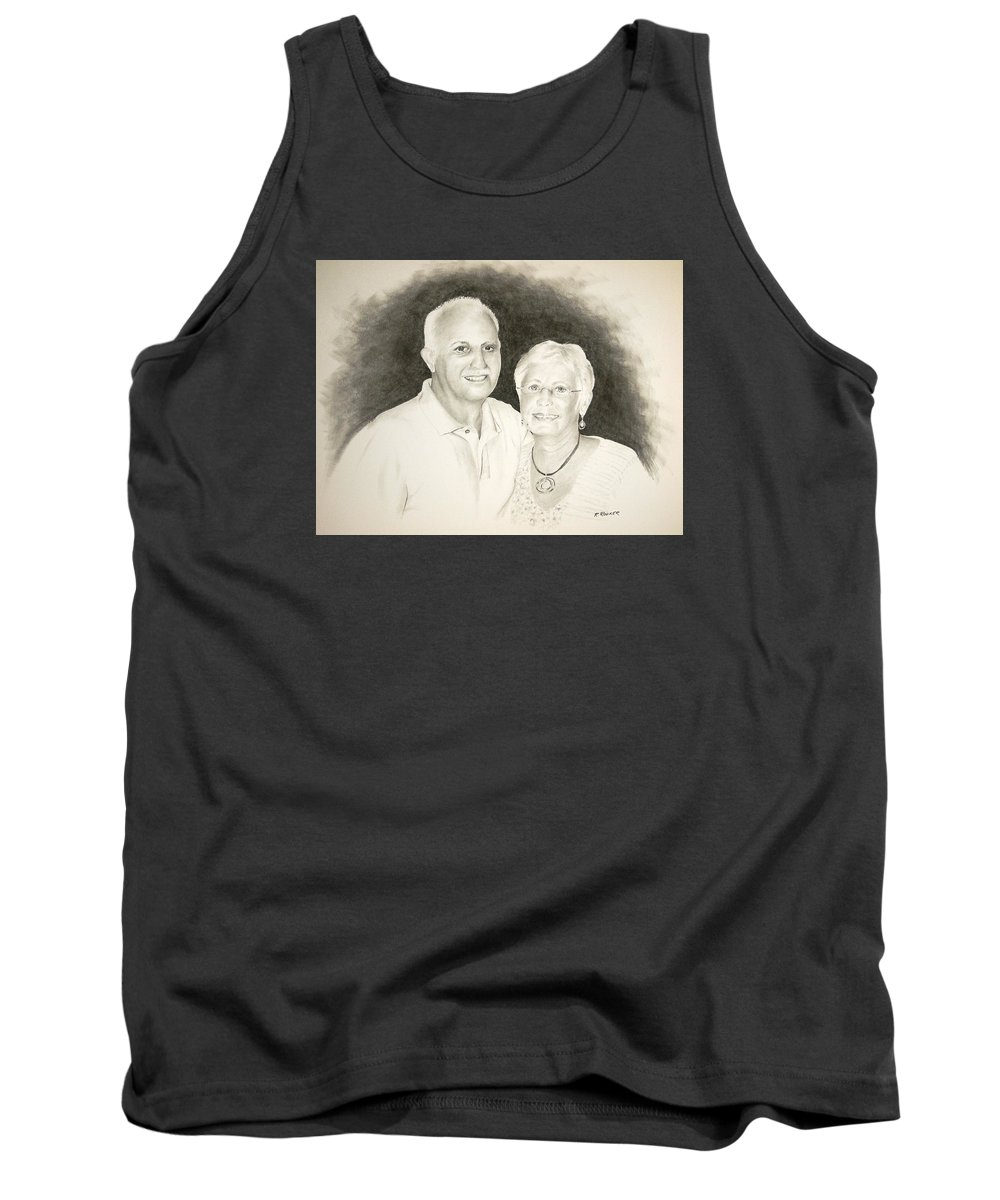 Busalacchi Tank Top featuring the drawing Mr And Mrs B by Richard Rooker