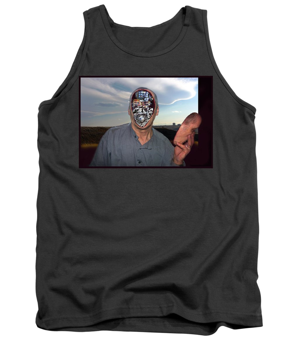 Surrealism Tank Top featuring the digital art Mr. Robot-otto by Otto Rapp