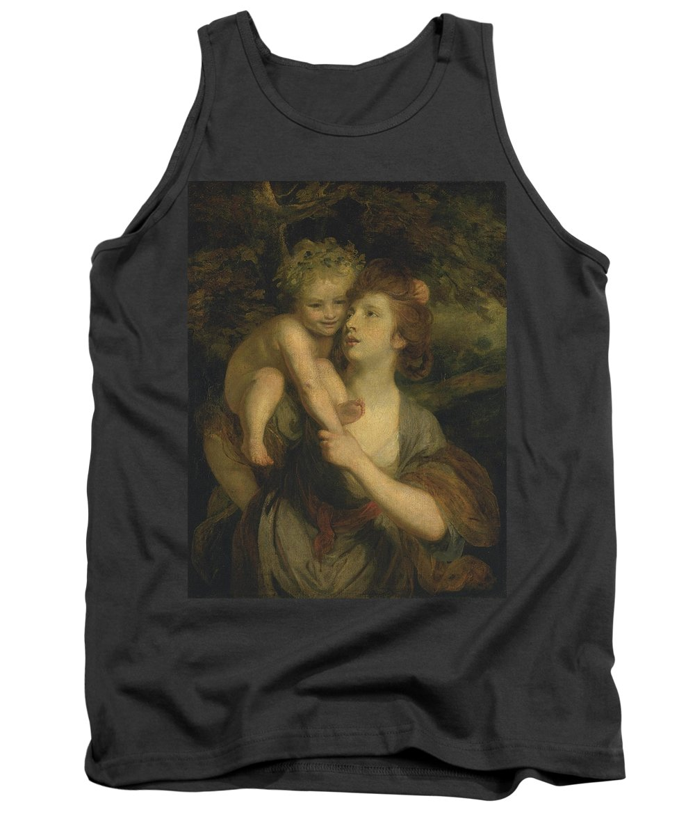 Sir Joshua Reynolds 1723–1792  Mrs Hartley As A Nymph With A Young Bacchus Tank Top featuring the painting Mrs Hartley As A Nymph With A Young Bacchus by Sir Joshua Reynolds