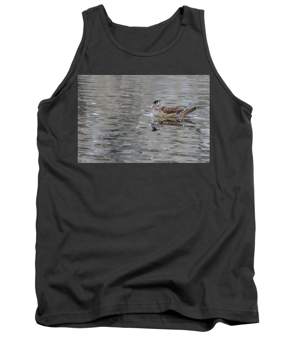 Wildlife Tank Top featuring the photograph Ms. Wood Duck by Barbara Blanchard
