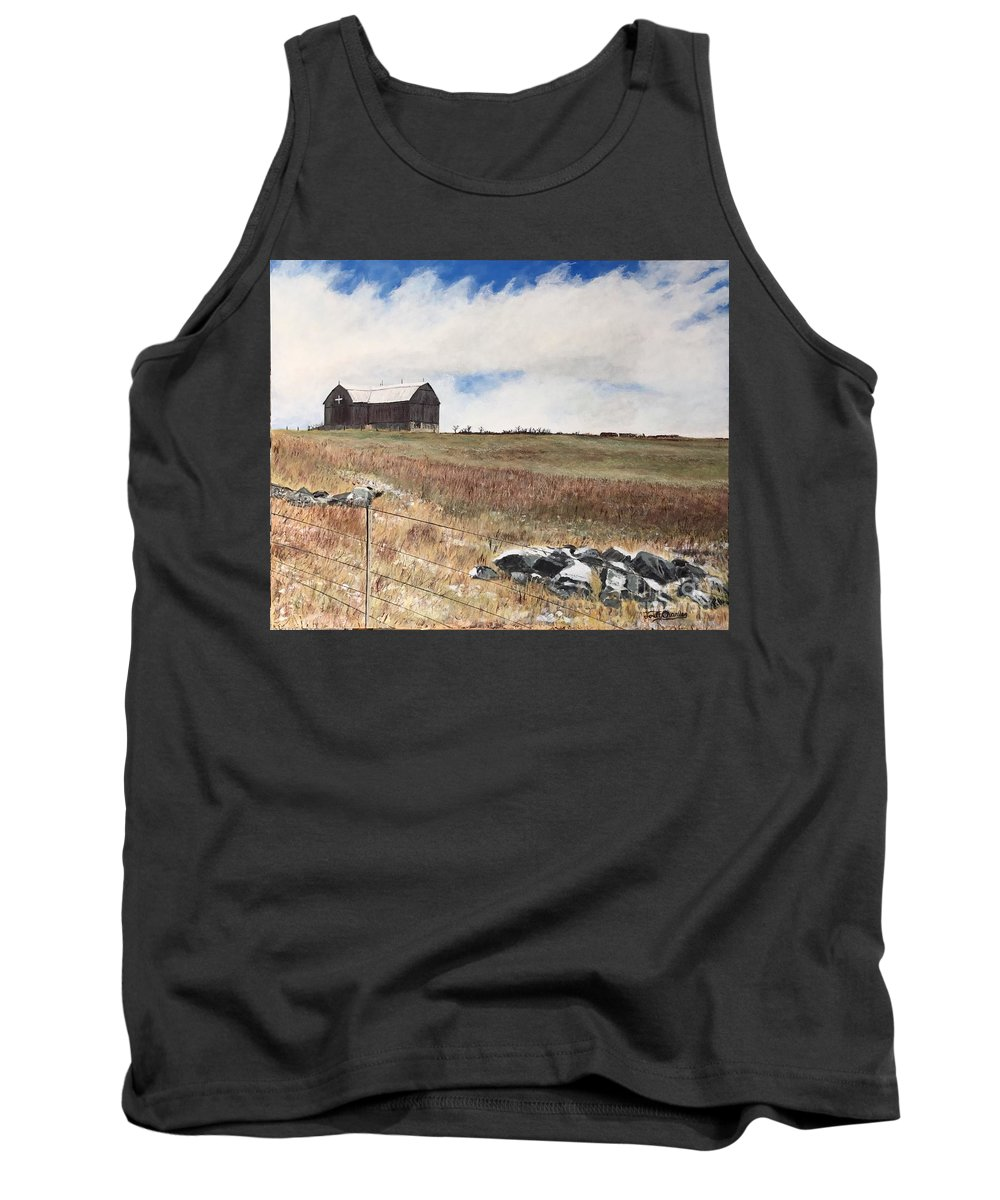 Landscape Tank Top featuring the painting Mt Savior Barn by Joel Charles