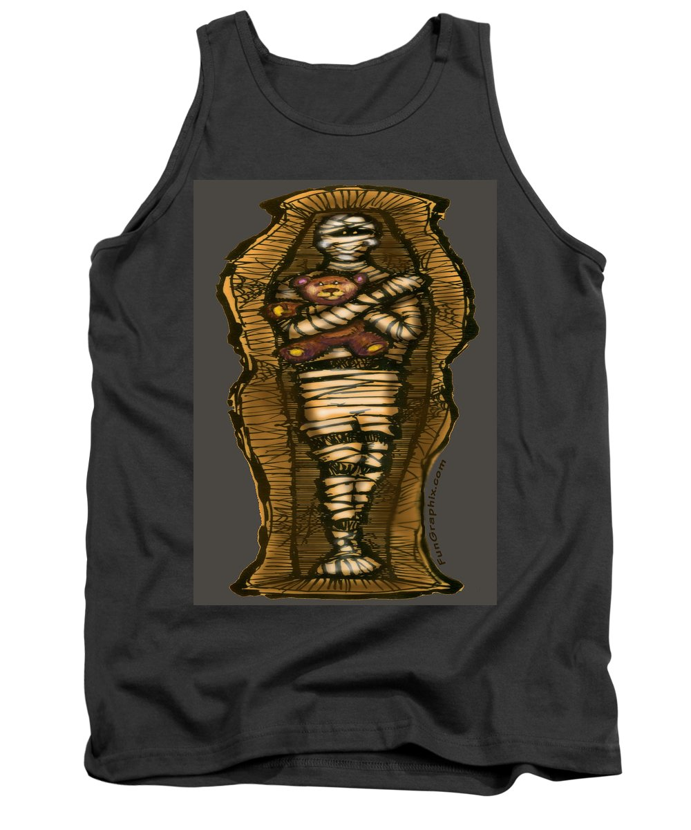 Halloween Tank Top featuring the greeting card Mummy And Teddy by Kevin Middleton