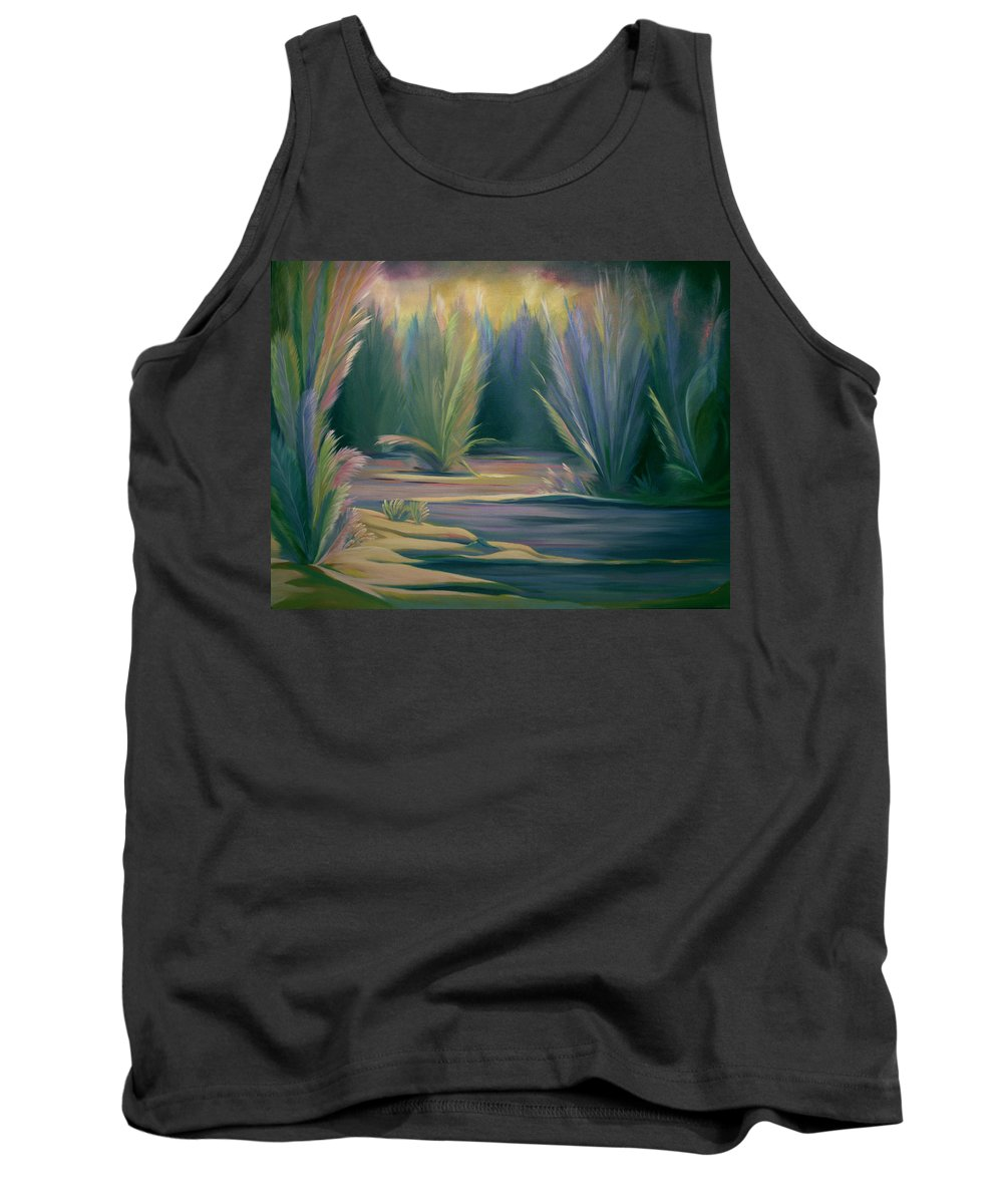 Feathers Tank Top featuring the painting Mural Field Of Feathers by Nancy Griswold