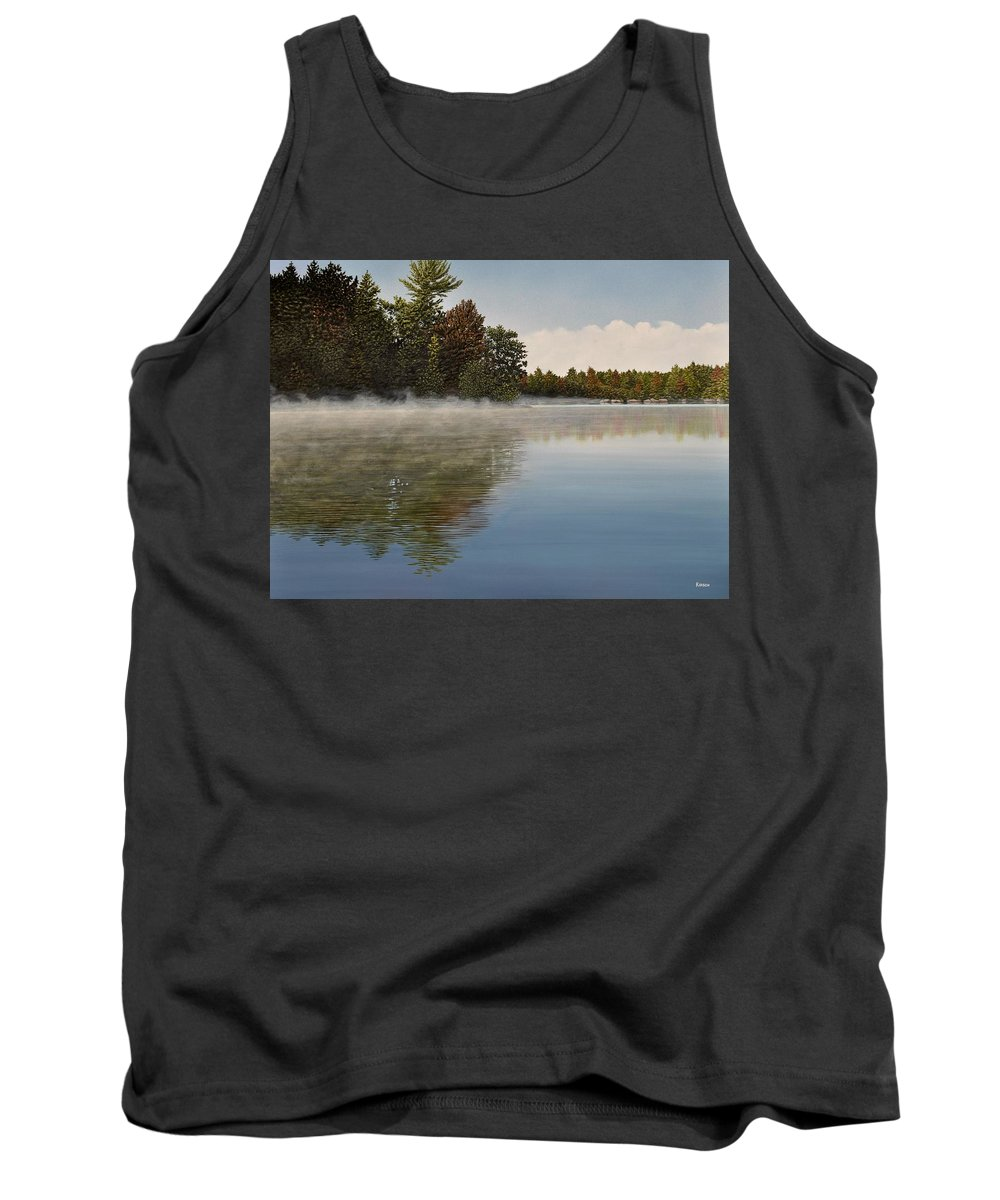 Lakes Tank Top featuring the painting Muskoka Morning Mist by Kenneth M Kirsch