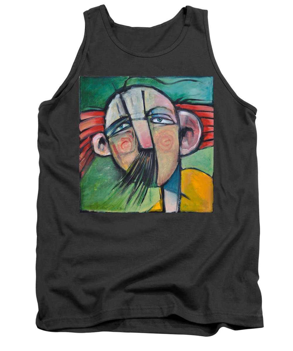 Humor Tank Top featuring the painting Mustached Man In Wind by Tim Nyberg