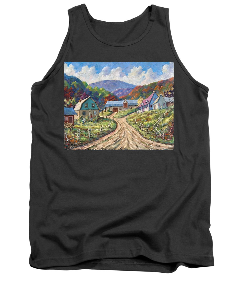 Country Tank Top featuring the painting My Country My Village by Richard T Pranke