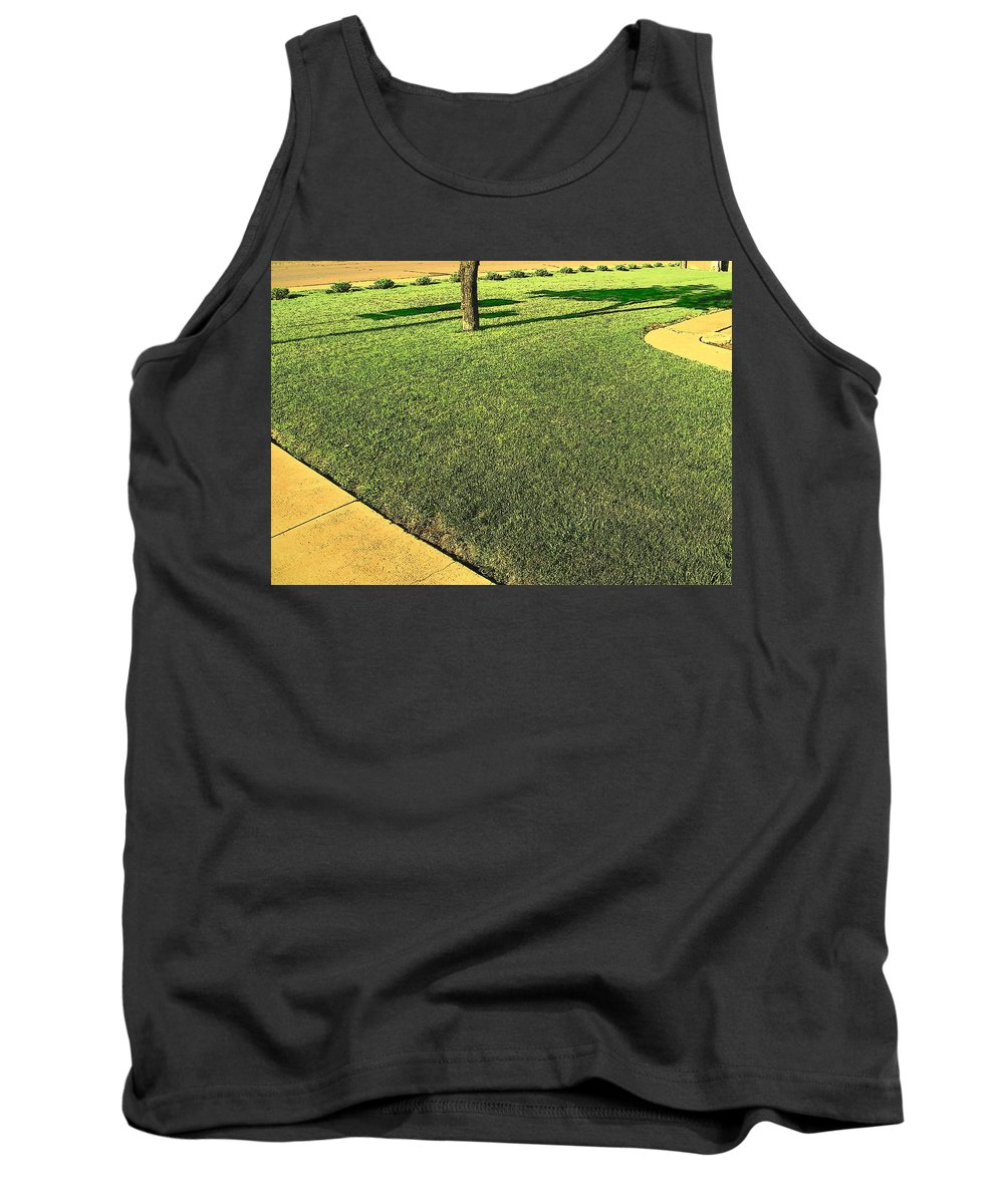 Abstract Tank Top featuring the photograph My Neighbor's Yard by Lenore Senior