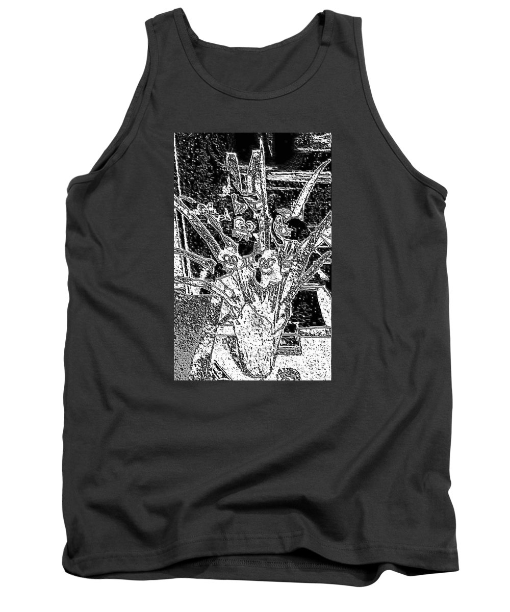 Pot Tank Top featuring the digital art My Orchids by Vickie G Buccini
