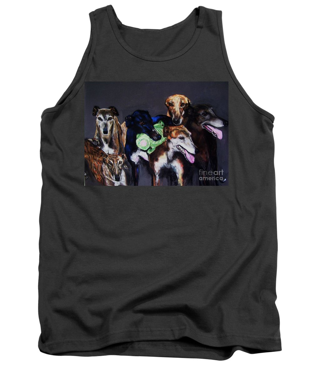 Greyhounds Tank Top featuring the painting My Teachers by Frances Marino
