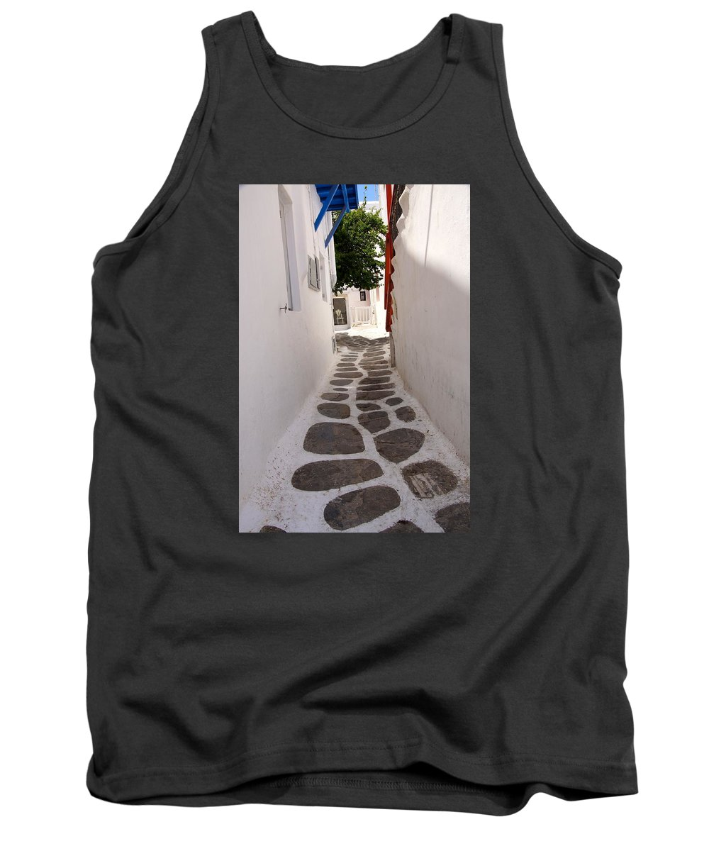 Cobblestone Tank Top featuring the photograph Mykonos Alley by Ron Koivisto