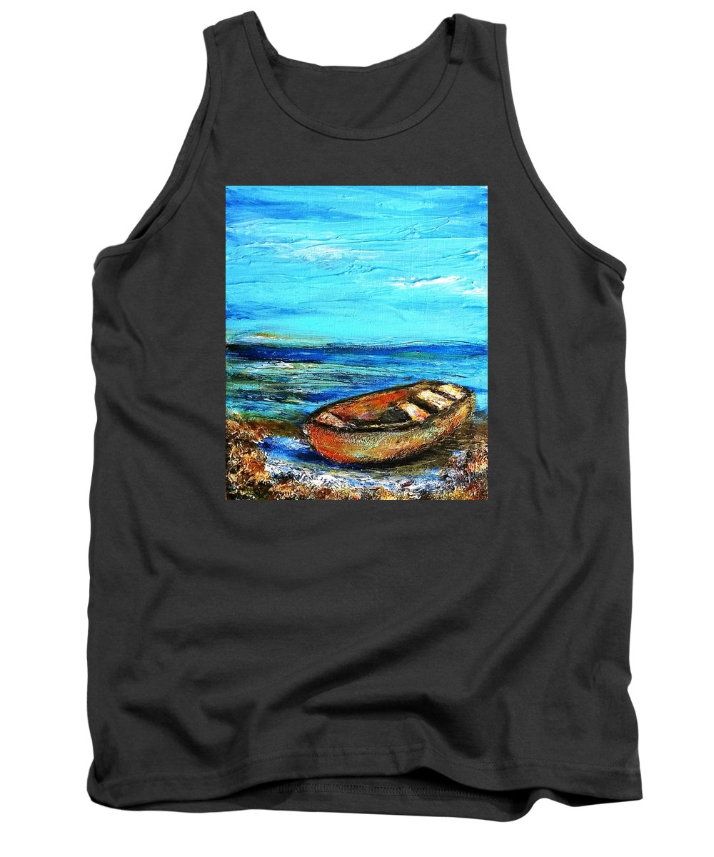 Boats Tank Top featuring the painting Mystery Landing by PJ McNally