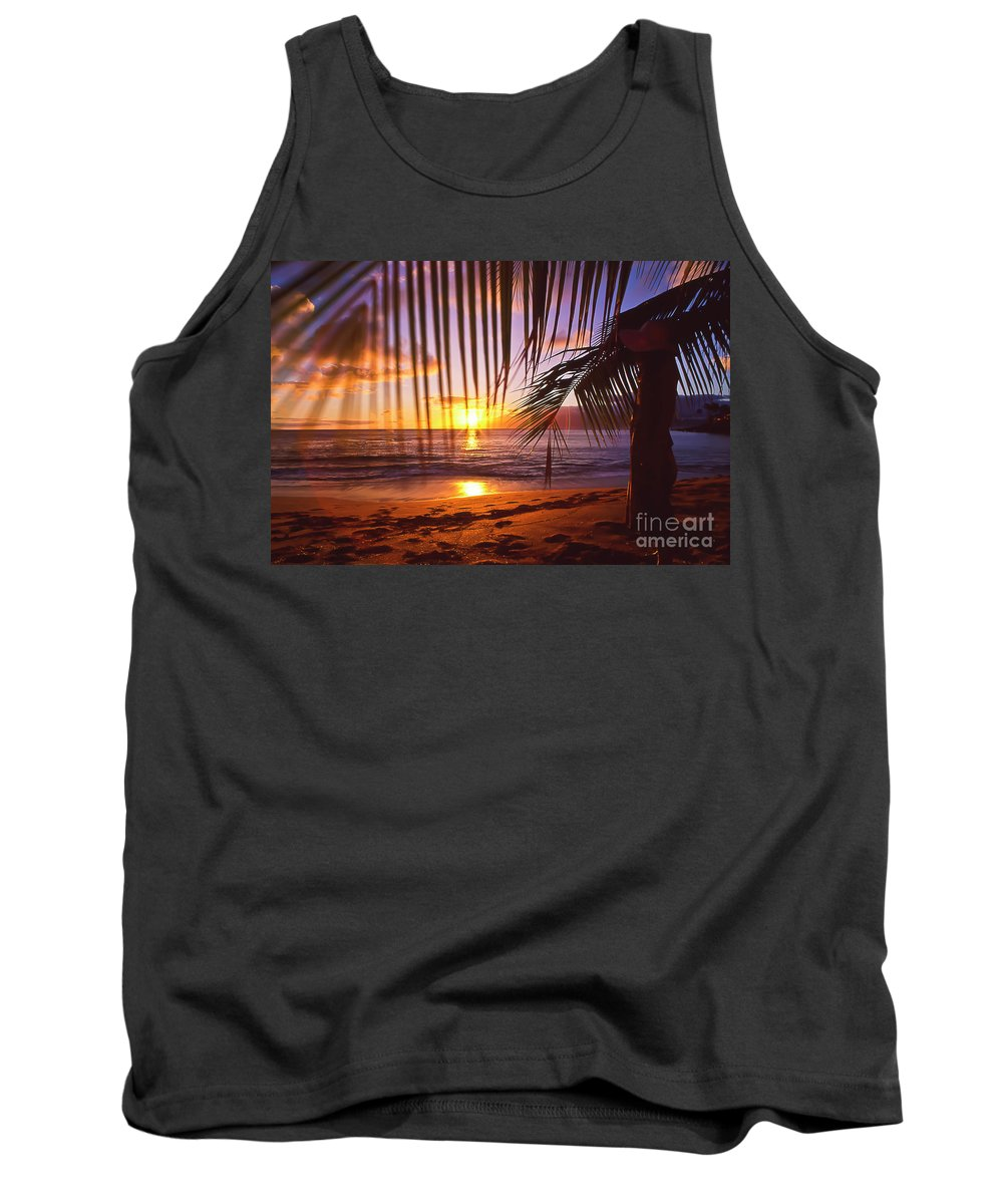 Sunset Tank Top featuring the photograph Napili Bay Sunset Maui Hawaii by Jim Cazel