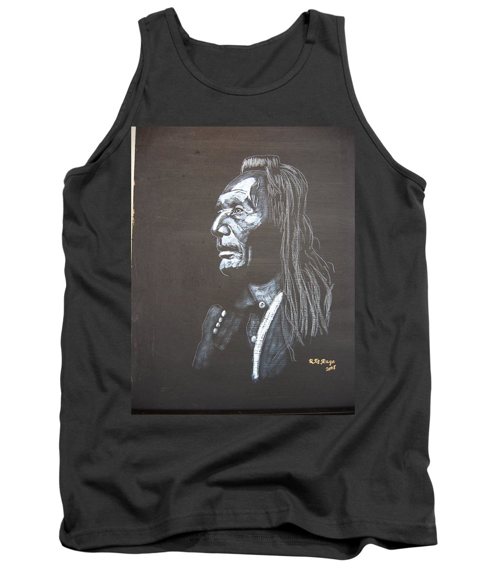 Indian Tank Top featuring the painting Native American by Richard Le Page