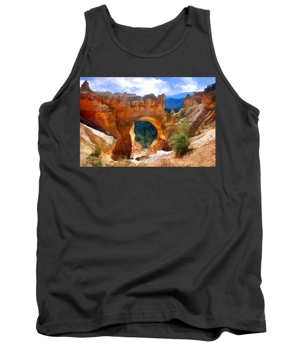 Nature Tank Top featuring the painting Natural Bridge Arch In Bryce Canyon National Park by Elaine Plesser