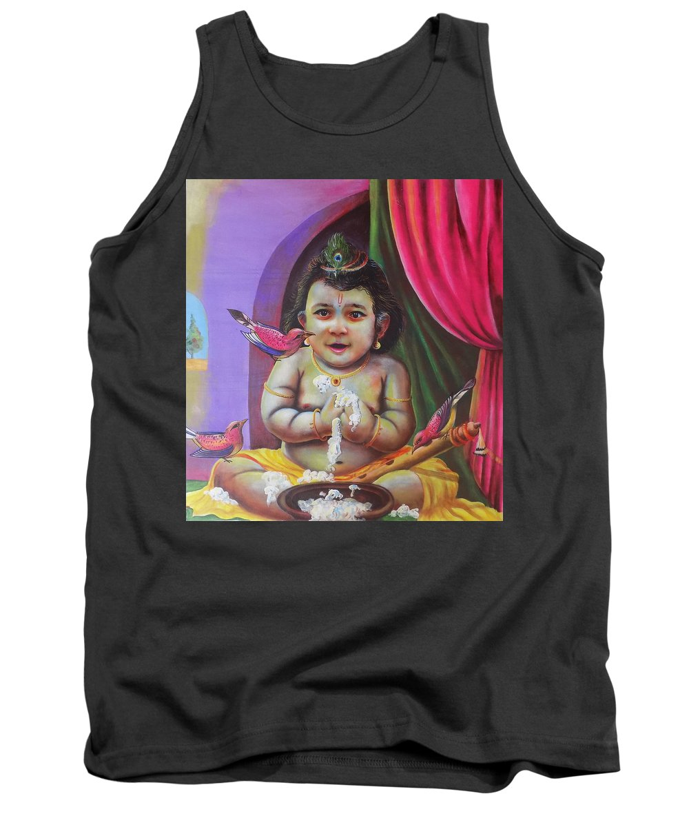 Lord Tank Top featuring the painting Naughty Little Baby Krishna by Arun Sivaprasad