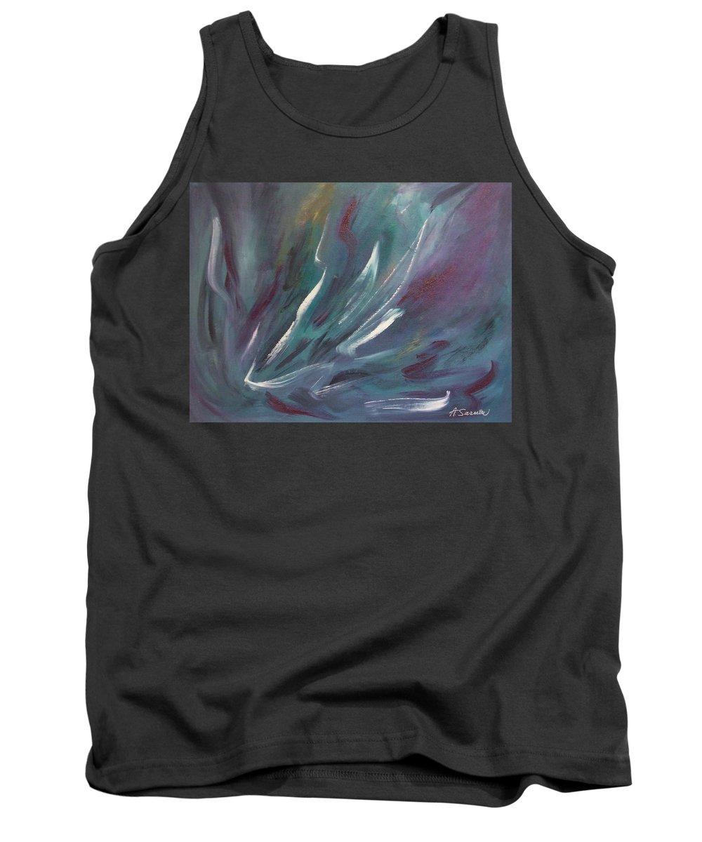 Acrylic Tank Top featuring the painting Nebula by Anita Burgermeister