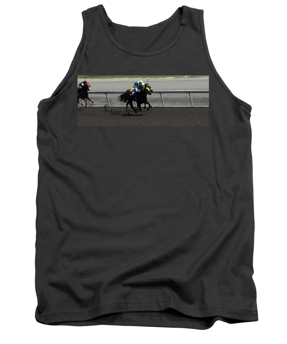 Horse Tank Top featuring the digital art Neck And Neck by Ian MacDonald