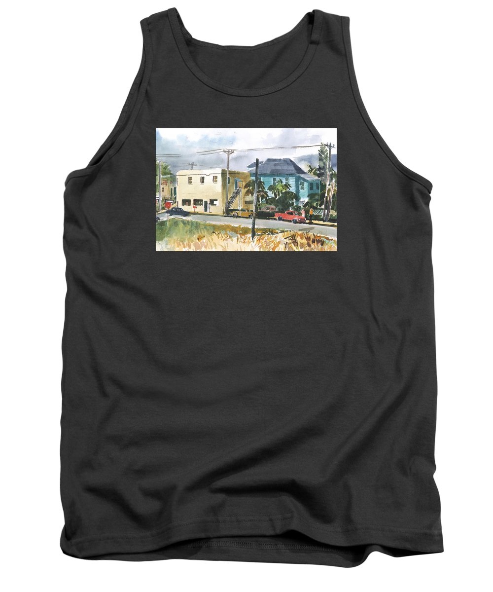 Landscape Tank Top featuring the painting Neighborhood Corner by Thomas Tribby