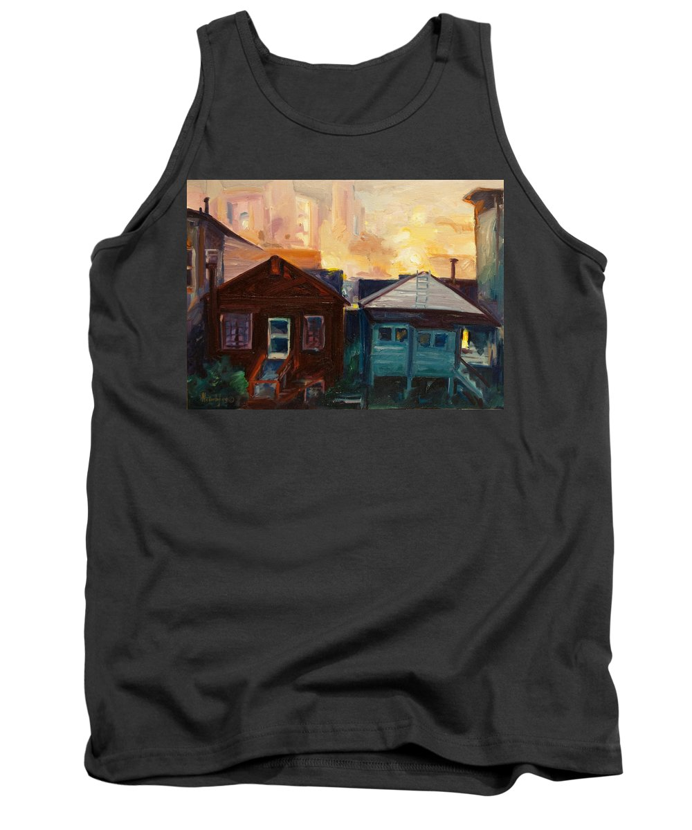 Cityscape Tank Top featuring the painting Neighbors by Rick Nederlof